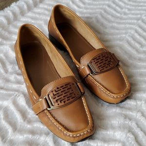 Tahari Grady Buckle Front Leather Driving Loafers